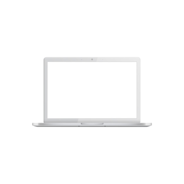 White laptop with blank screen Premium Vector