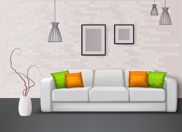 Белый кожаный диван с фантастическими зелеными оранжевыми подушками придает цвет в гостиной реалистичной иллюстрации интерьера Бесплатные векторы