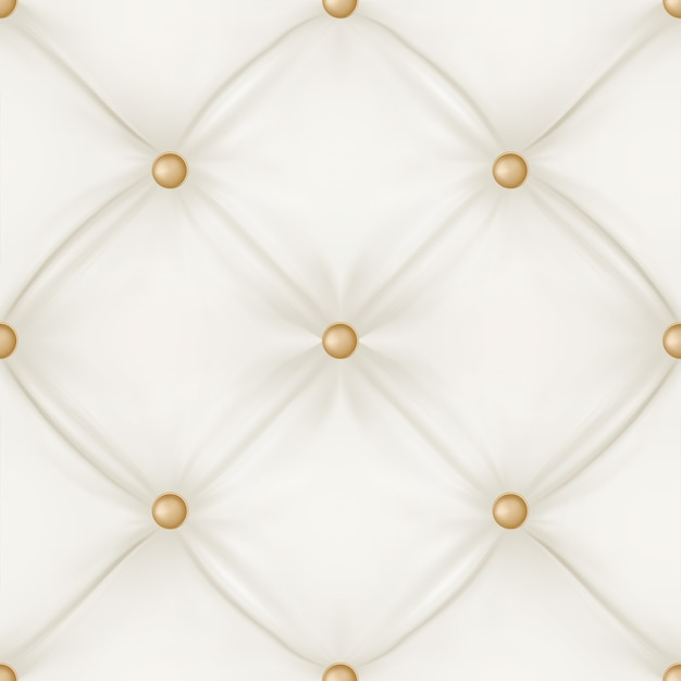 White leather upholstery seamless pattern background. Free Vector