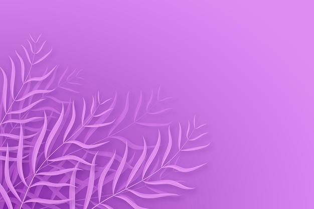 Foglie bianche su sfondo viola Vettore gratuito