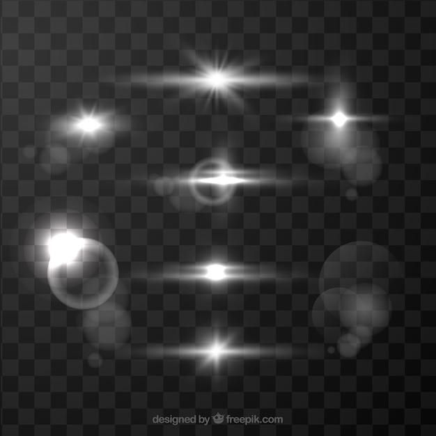 White lens flare collection Free Vector