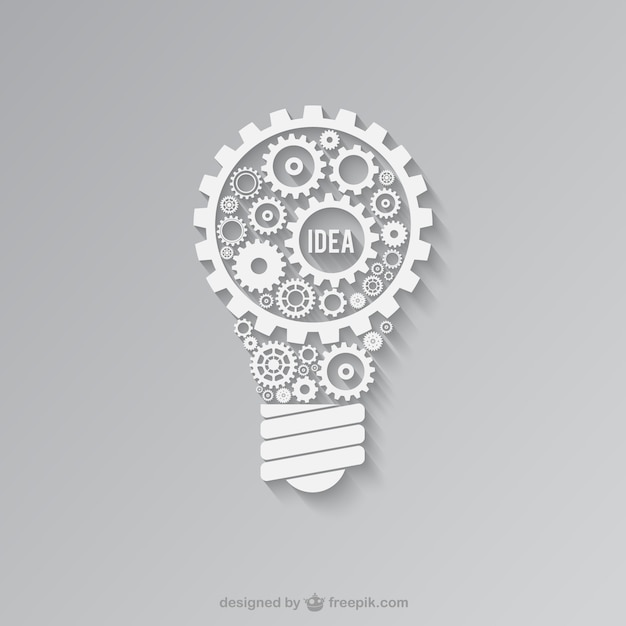 White light bulb made of gears Free Vector