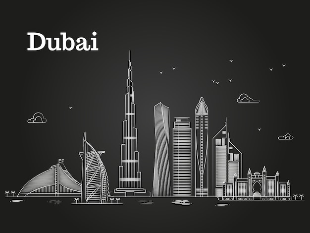 White linear dubai panorama with skylines and famous buildings Premium Vector
