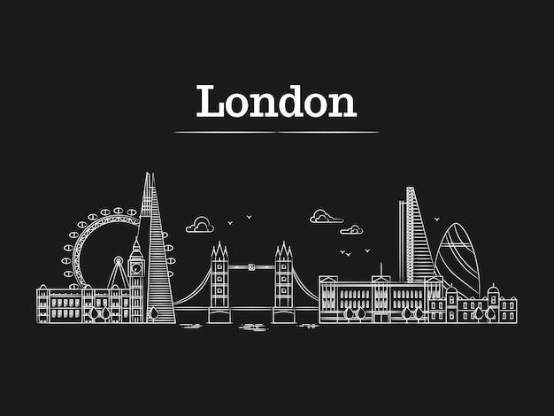 Белый линейный лондонский горизонт с известными зданиями Premium векторы