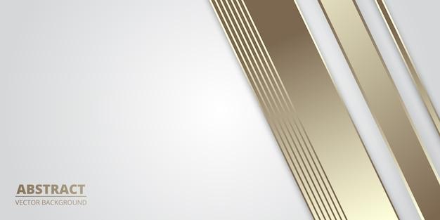 金色の線と白の豪華な抽象的な背景。 Premiumベクター