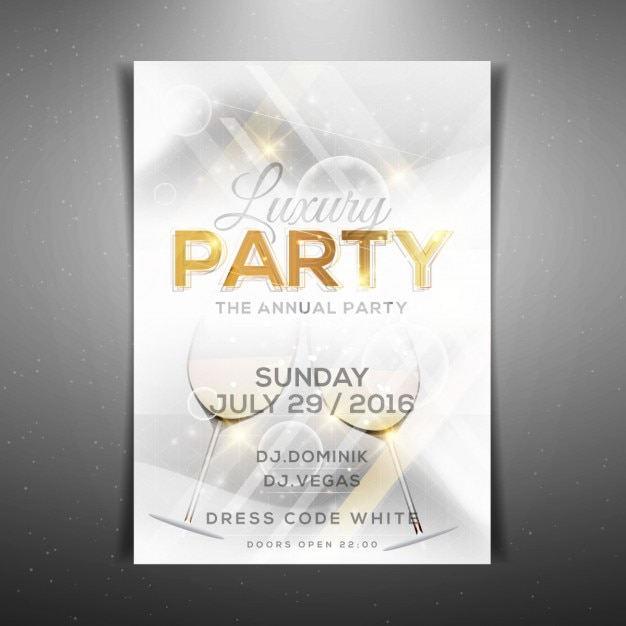 White Luxury Party Poster Template Vector Free Download