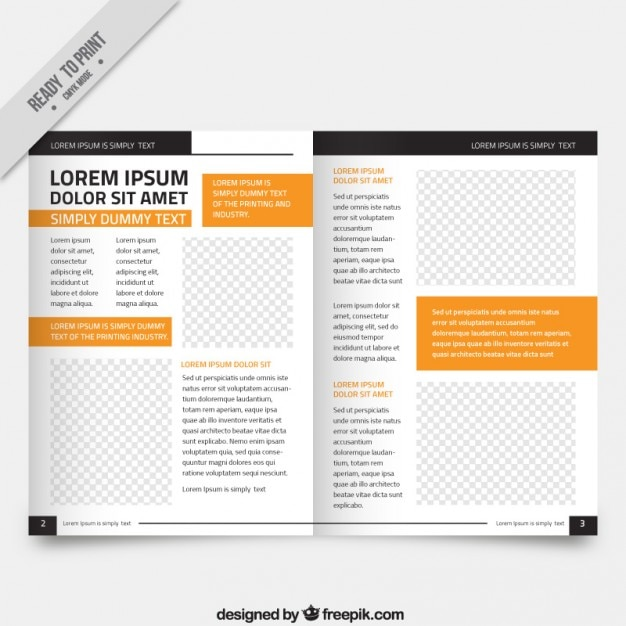 Magazine Template Free | White Magazine Template Orange Parts Vector Free Download