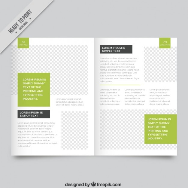 White Magazine Template With Green Parts Vector Free