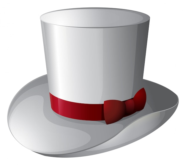 A white magician hat with a red ribbon Free Vector