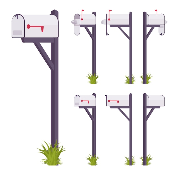 White mailbox set. steel box near a dwelling, street corner for mail, to put and get a letter, with indicator. landscape architecture and urban design concept.   style cartoon illustration Premium Vector