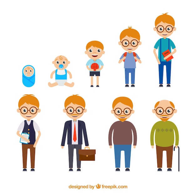 White man in different ages with flat design Free Vector