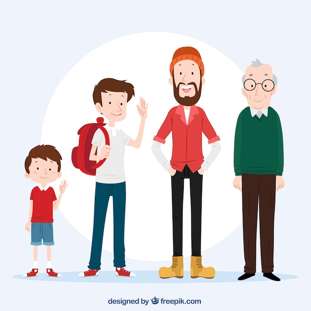 White man in different ages with flat\ design
