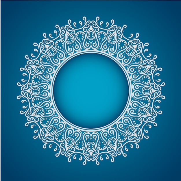 White Mandala On Blue Background Vector Free Download