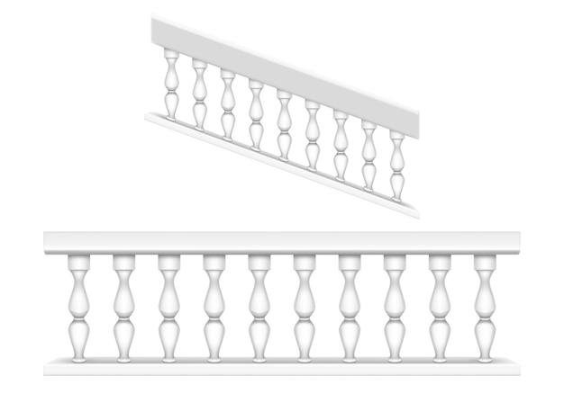 バルコニー、ポーチ、または庭用の白い大理石の手すり、クラシックなローマ風の階段用の手すり。バロック式の石の手すり、柱と手すり、列とアンティークフェンスの現実的なセット 無料ベクター