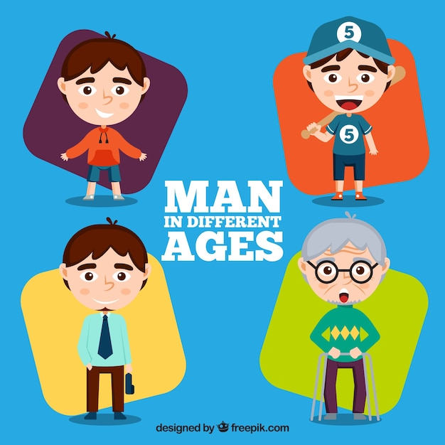 White men collection in different ages