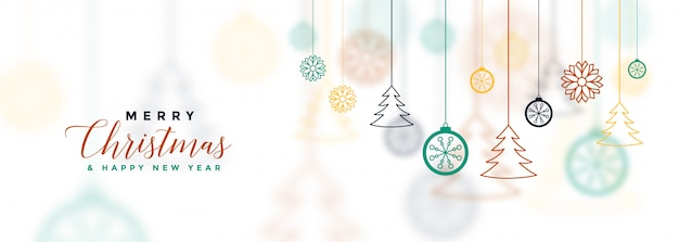 White merry christmas banner with decorative Free Vector