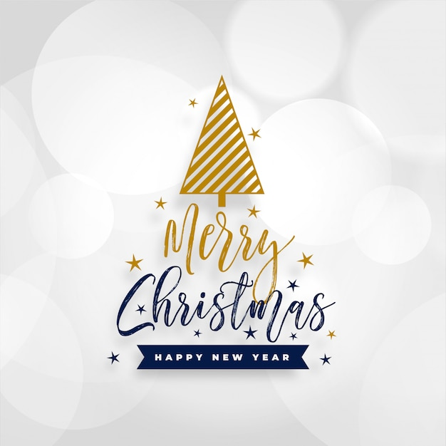 White merry christmas card with tree design Free Vector