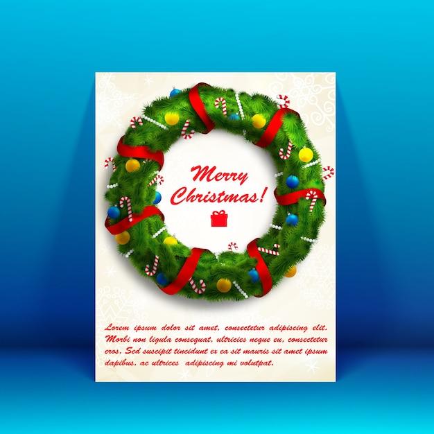 花輪の画像とテキストフィールドフラットイラストと白いメリークリスマスカード 無料ベクター