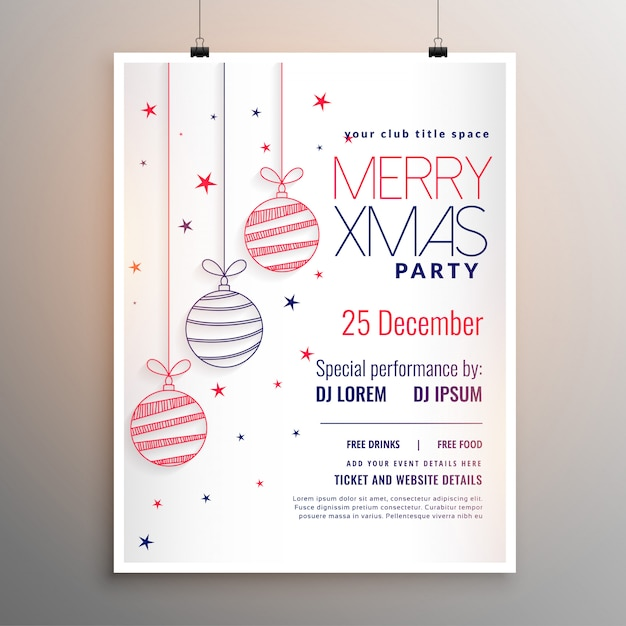 White merry christmas flyer design in line style Free Vector
