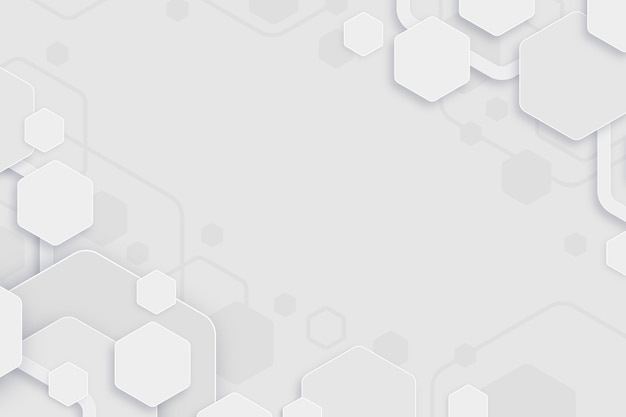 White minimal hexagons background Free Vector