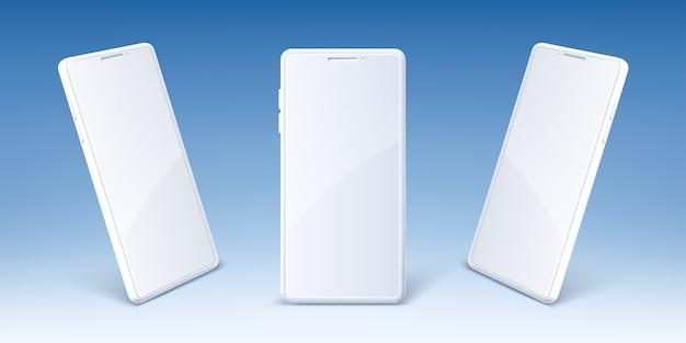 빈 화면 앞에 흰색 휴대 전화 및 투시도. 현대 스마트 폰의 현실적인 모형. 프리젠 테이션 디지털 스마트 장치, 전자 가제트 용 템플릿 무료 벡터