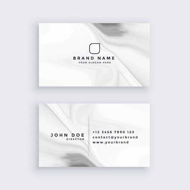 White modern marble style business card Free Vector