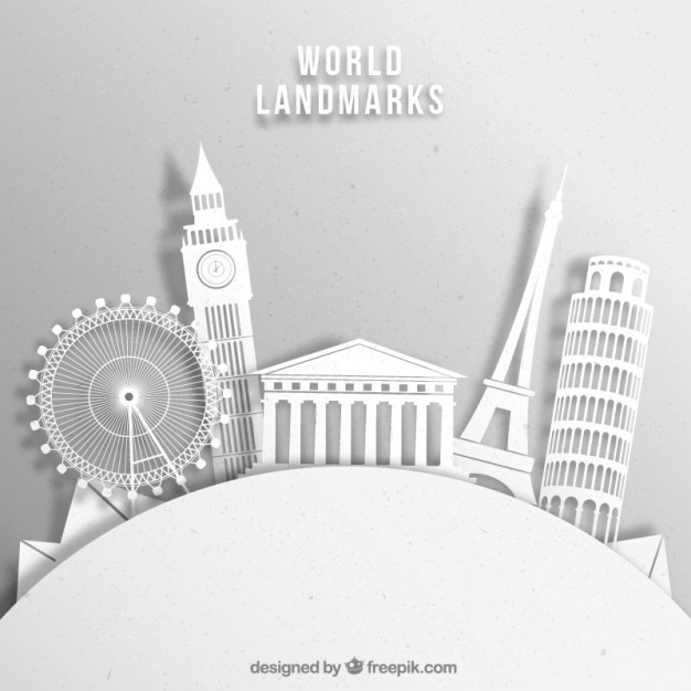 White monument silhouettes background
