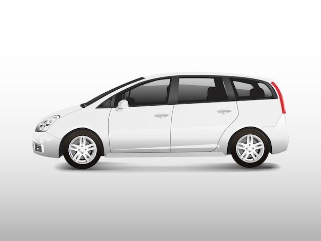 Белый автомобиль mpv минивэн автомобиль Бесплатные векторы