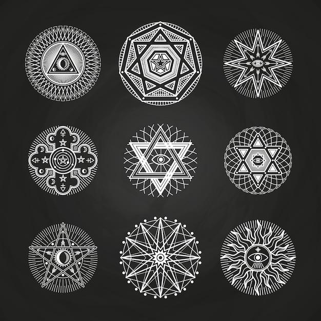 White mystery, occult, alchemy, mystical esoteric symbols on blackboard Premium Vector