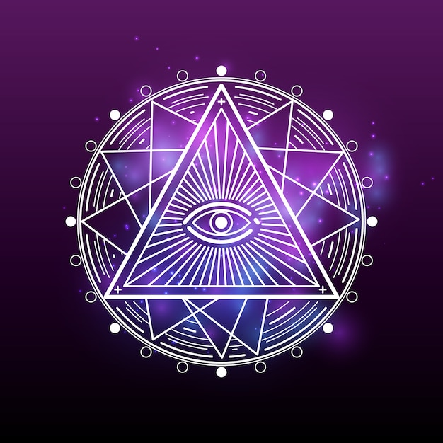 White mystery, occult, alchemy, mystical esoteric Premium Vector