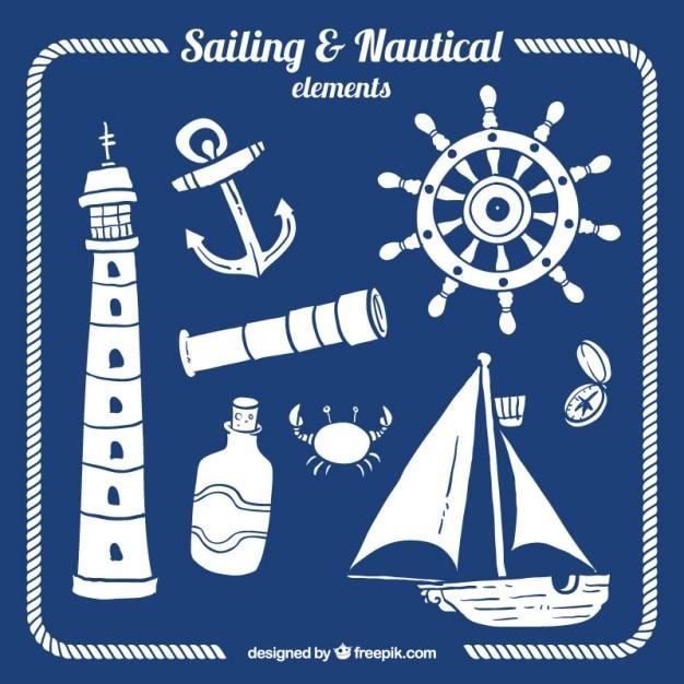 White nautical elements Free Vector