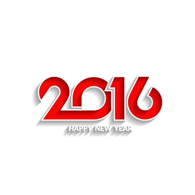 white new year background with red 2016 free vector