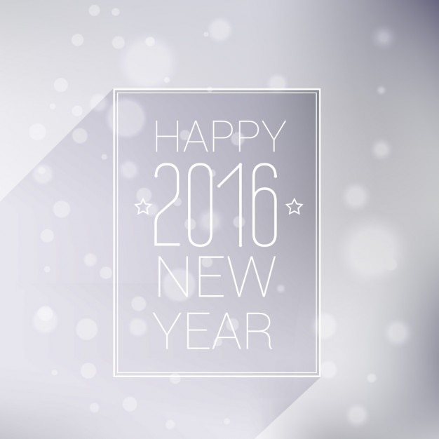 white new year card with bokeh background free vector