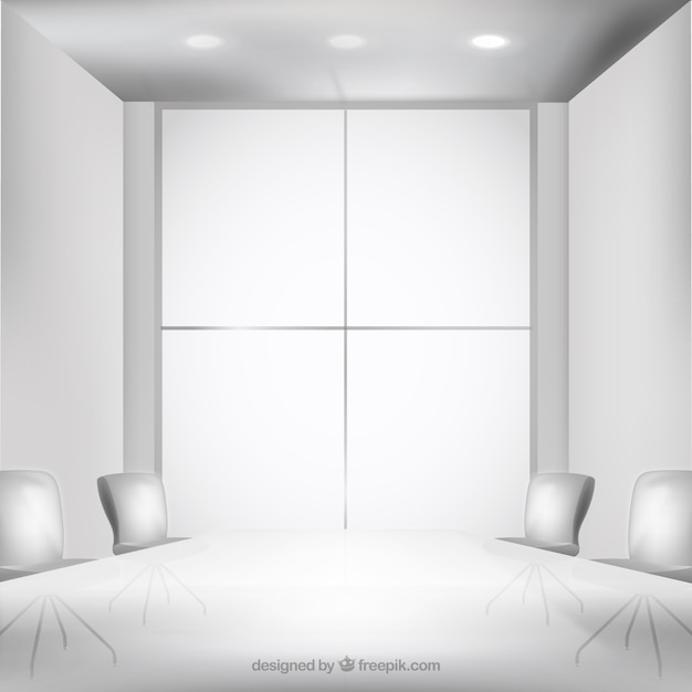 White Office Interior Vector Free Download