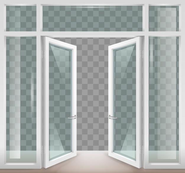 White open doors Premium Vector