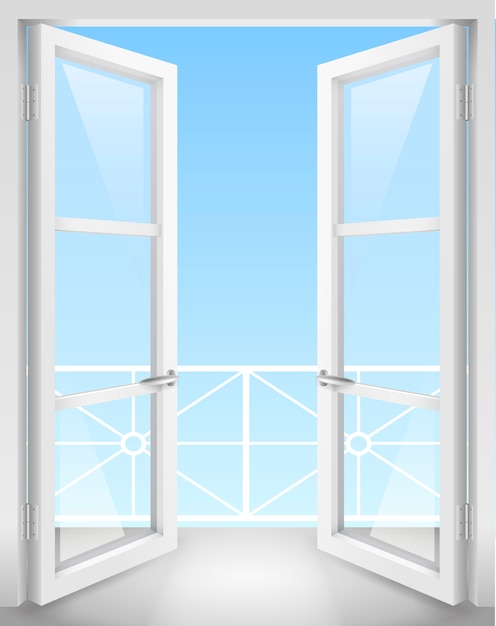 White open doors Premium Vector