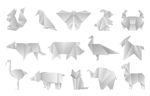 Белые оригами животные. геометрические сложенные бумажные формы, абстрактные птицы дракона бабочка многоугольника шаблоны. япония оригами дизайн зоопарк азия иллюстрация Premium векторы