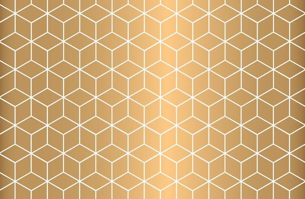 White outline geometric seamless pattern on golden background. Premium Vector