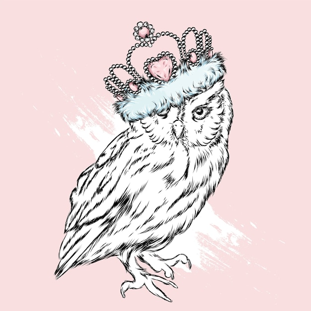 White owl with crown Premium Vector