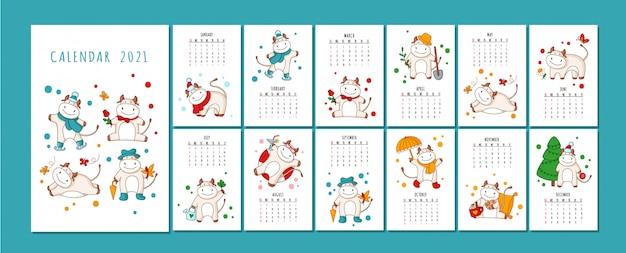 Календарь белого быка или формат планировщика, мультипликационный вол, бык или корова, символ нового года Premium векторы
