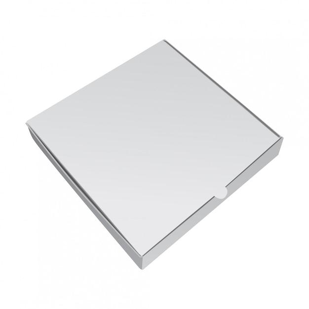 피자를위한 백색 수송 용 포장 상자. 현실적인 그림 프리미엄 벡터