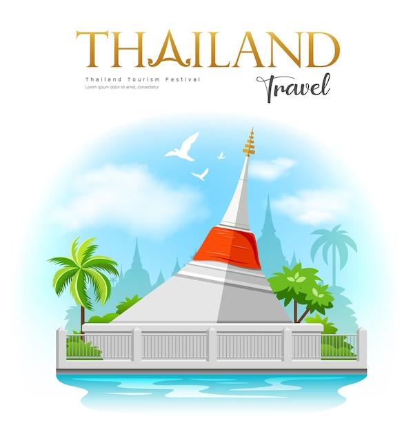 붉은 천, 코 크렛, 논타 부리 주 차오 프라야 강의 작은 섬이있는 흰색 탑, 태국 여행. 프리미엄 벡터