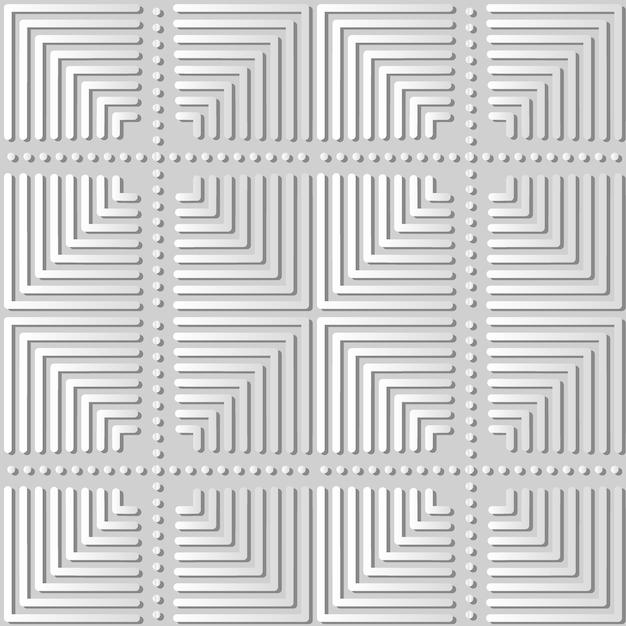 백서 아트 스퀘어 체크 크로스 라운드 도트 라인, 웹 배너 인사말 카드의 세련된 장식 패턴 배경 프리미엄 벡터