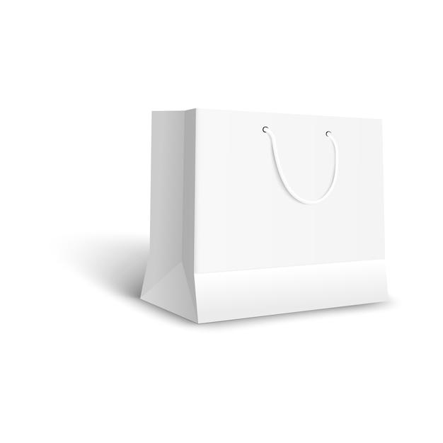 小売店で購入するための白い紙のバッグ、ギフトパッケージまたは店舗の商品のための空白のモックアップ、ブレイディングのための空のクリーンでリアルなテンプレート-分離 Premiumベクター