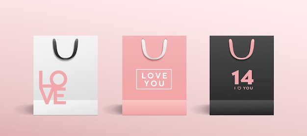 White paper bag, pink paper bag, black paper bag, with colorful cloth handle collections valentine's concept design, template background Premium Vector