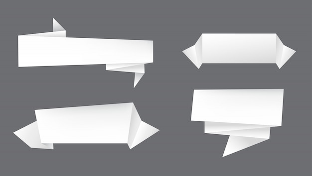White paper banners Premium Vector