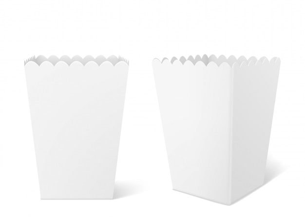 White paper box for popcorn in cinema Free Vector