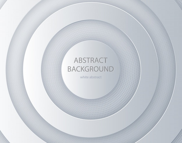 White paper cut round background Premium Vector