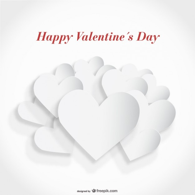 white paper cutout heart card design vector free download