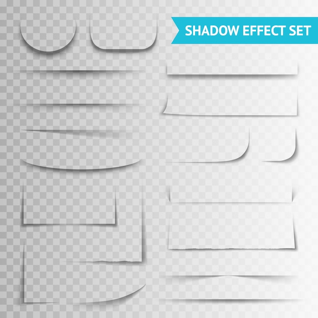 White paper cuts transparent shadow set Free Vector